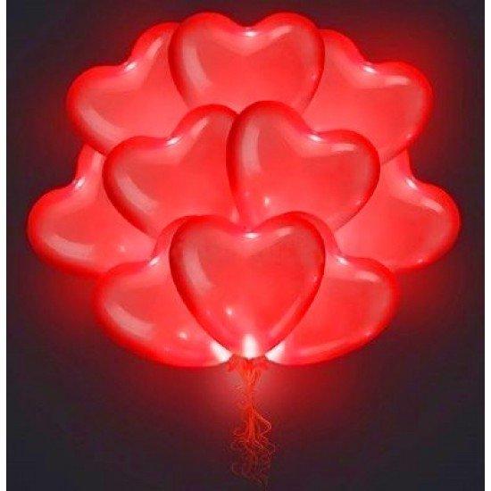 Светящиеся Сердца, Красные с мигающими разноцветными светодиодами, 38 см