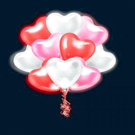 Светящиеся Сердца Ассорти, Белые, Розовые, Красные с мигающими разноцветными светодиодами