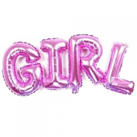 "Шар Надпись ""Girl"", Розовый, 112 см"