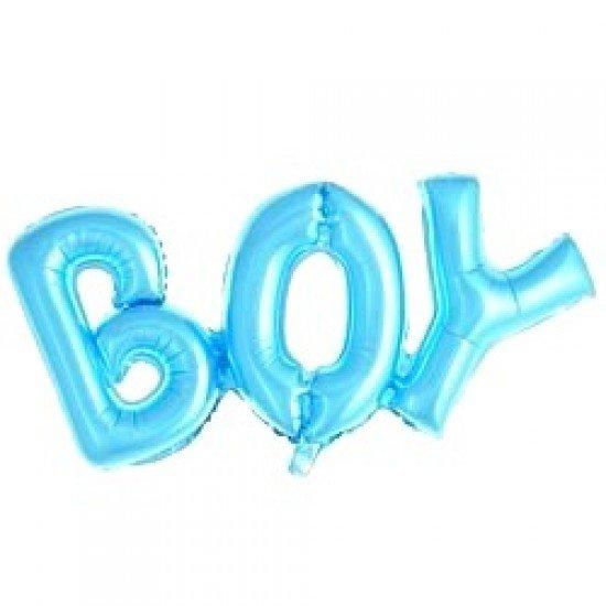 """Шар Надпись """"Boy"""", Голубой, 84 см"""