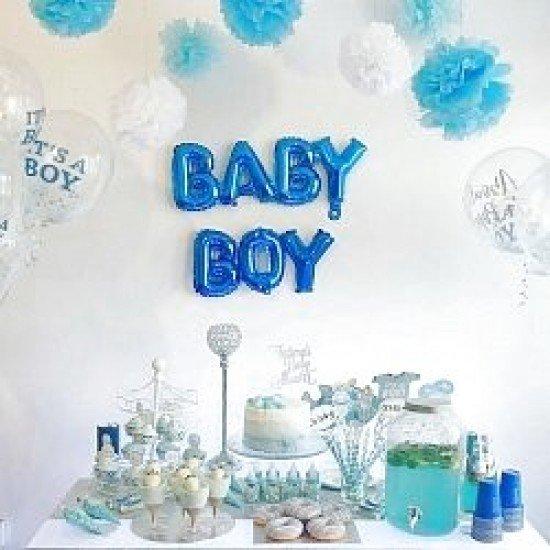 """Шар Надпись """"Baby"""", Синий, 81 см"""