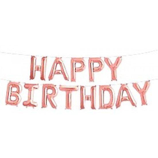 """Шар Надпись из букв """"Happy Birthday"""", Розовое Золото, 41 см"""