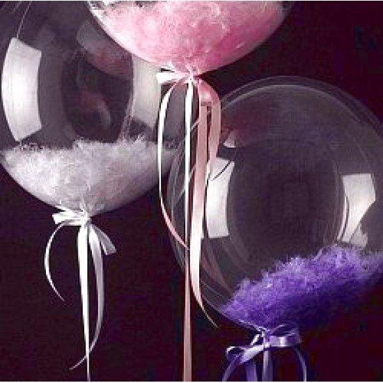 Прозрачный шар Bubble с Розовыми перьями, 52 см