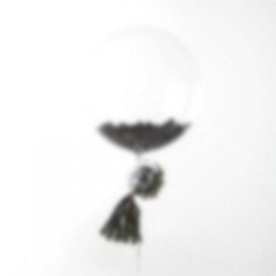 Прозрачный шар Bubble с Черными перьями, 52 см