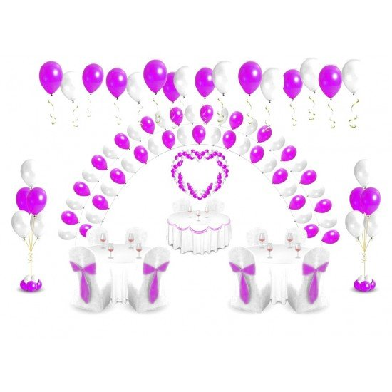Свадьба из воздушных шаров в сиреневом стиле