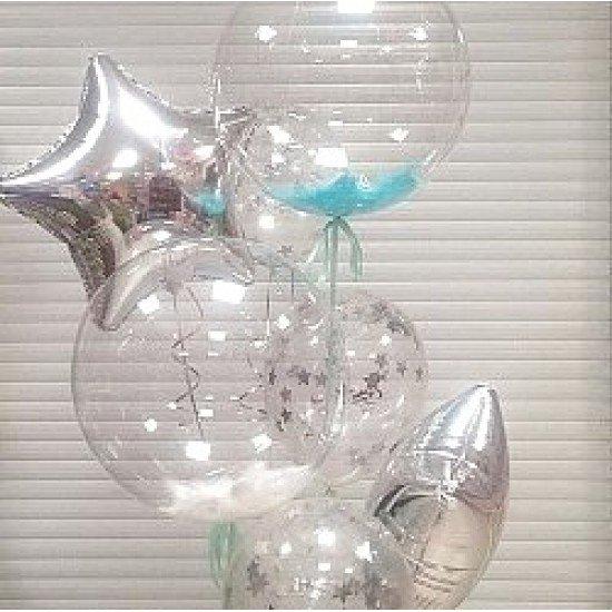 Прозрачный шар Bubble с Голубыми перьями, 55 см