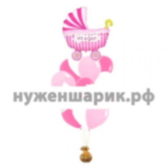 Букет из воздушных шаров Ко рождению девочки с коляской