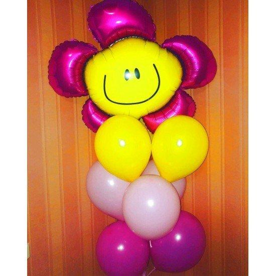 Фонтан из 8 воздушных шаров ассорти с фигурой из фольги на основании