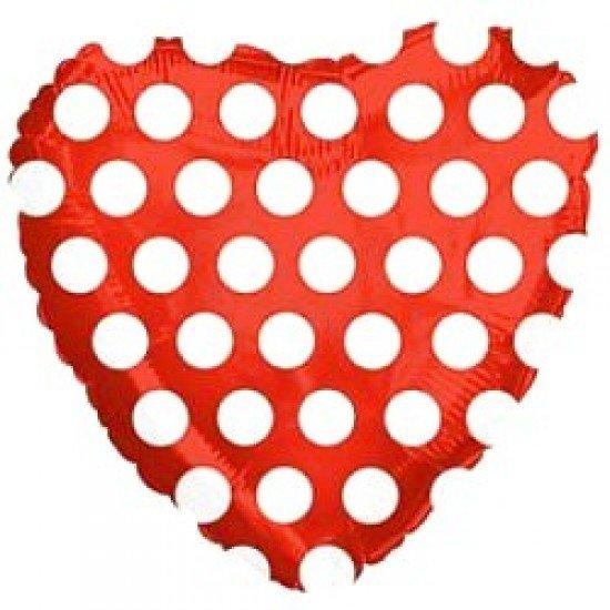 Шар из фольги, Сердце, В белый горошек, Красное, 46 см