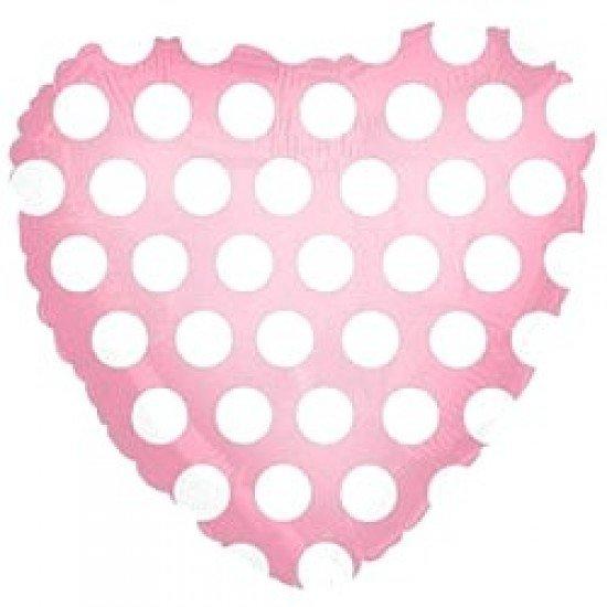 Шар из фольги, Сердце, В белый горошек, Розовое, 46 см