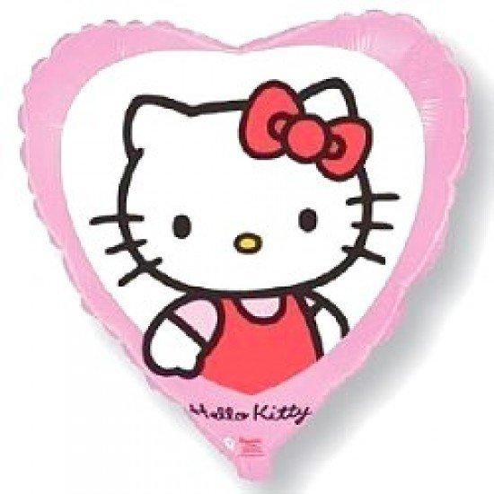 Шар из фольги, Сердце, Котенок с бантиком, Розовое, 46 см