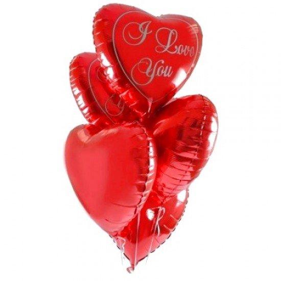 Шар из фольги, Сердце, I love you, Красное, 46 см