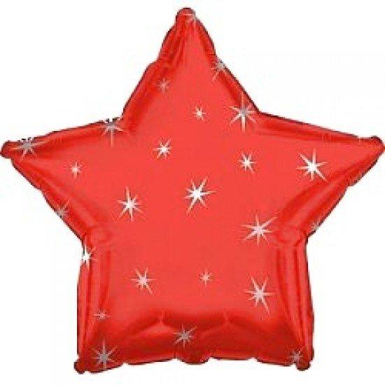 Шар из фольги, Звезда, Искры, Красная, 46 см