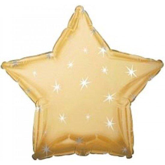 Шар из фольги, Звезда, Искры, Золото, 46 см
