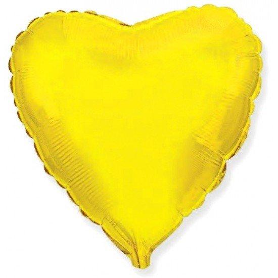 Шар из фольги, Сердце,  Золото, 46 см