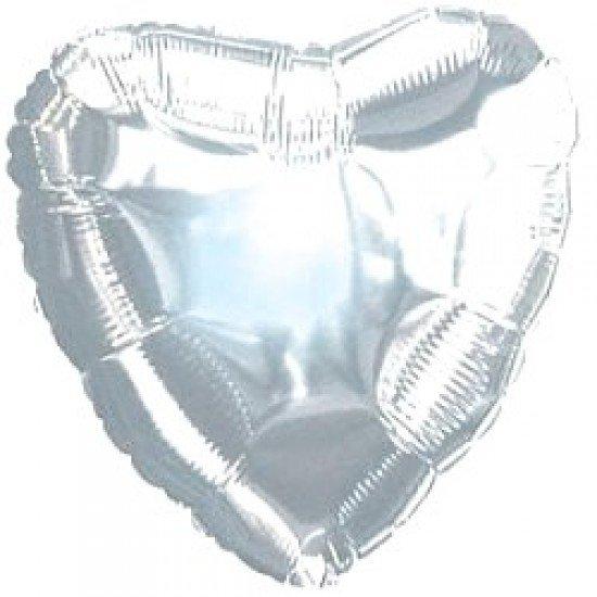 Шар из фольги, Сердце, Серебро, 46 см