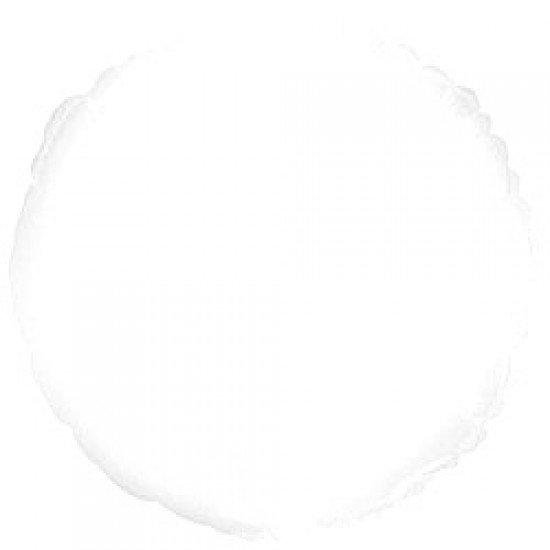 Шар из фольги, Круг, Белый, 46 см