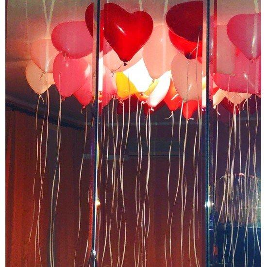 Облако воздушных шаров Сердца Ассорти
