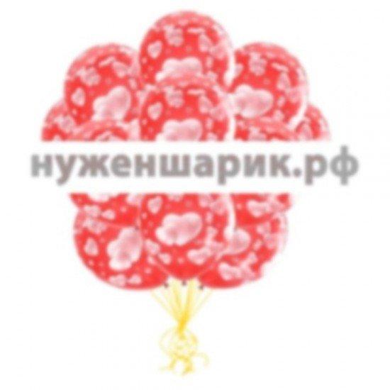Облако воздушных шаров Шары-Сердца Красные