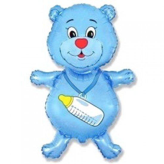 Медвежонок с бутылочкой голубой, 92 см