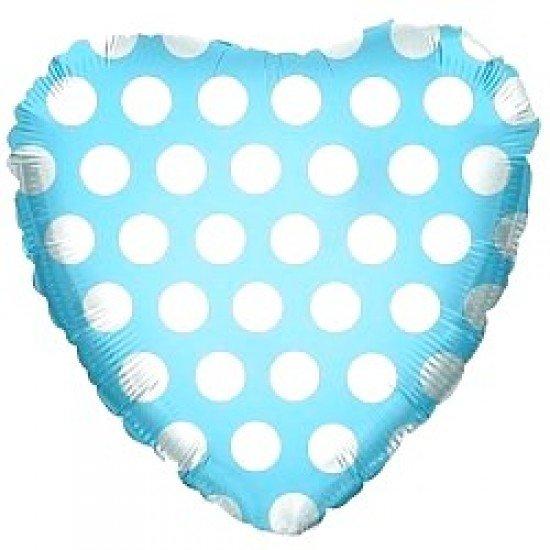 Шар из фольги, Сердце, В белый горошек, Голубое, 46 см