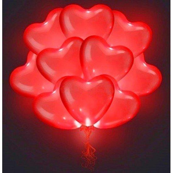Облако воздушных шаров Светящиеся Сердца, Красные, 38 см