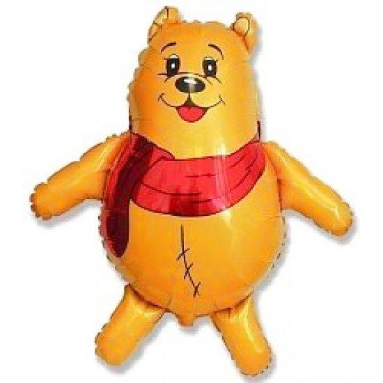 Фигура, Медвежонок с красным шарфом, Желтый, 84 см