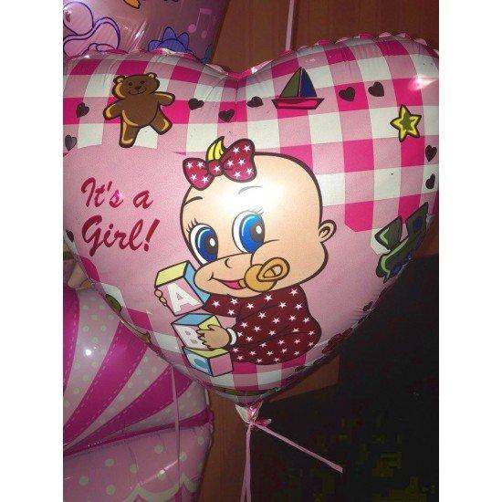 Шар из фольги, Сердце, Новорожденная девочка, 46 см