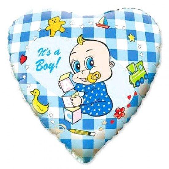 Шар из фольги, Сердце, Новорожденный мальчик, 46 см