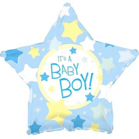 Шар из фольги, Звезда, С рождением мальчика, 46 см