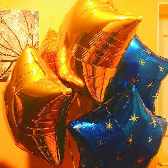 Шар из фольги, Звезда, Золото, 46 см