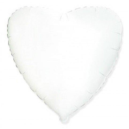 Шар из фольги, Сердце, Белое, 46 см