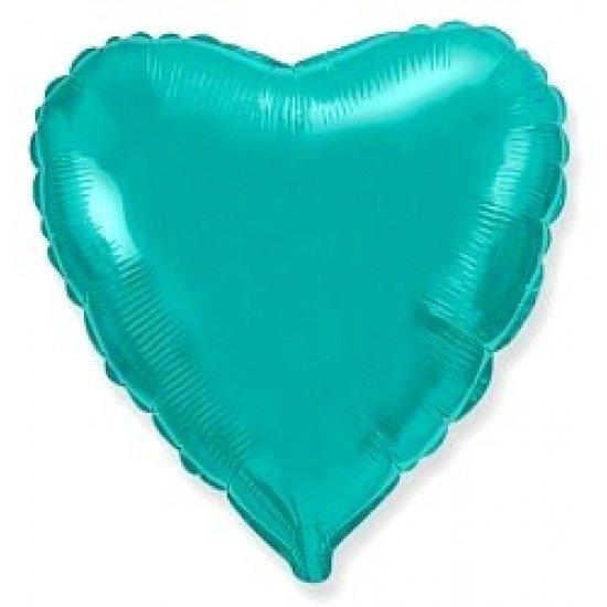 Шар из фольги, Сердце, Бирюзовое, 46 см