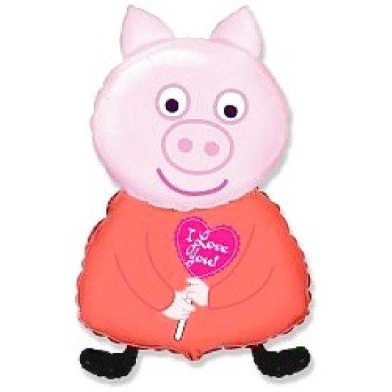 Фигура, Поросенок с сердцем, Розовый, 81 см
